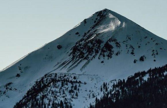 Snow capped Mountain peak