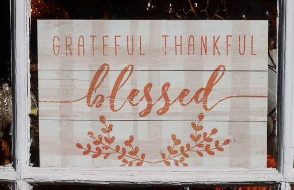 """Farm sign saying, Grateful, Thankful, Blessed"""""""