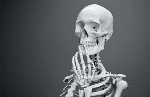 skeleton in thinking pose
