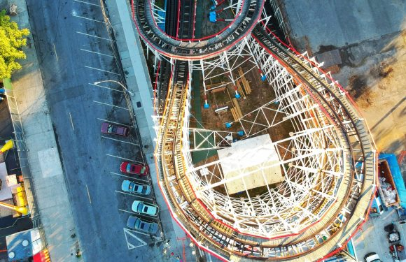 Image of a roller coaster - taken from high up in the sky