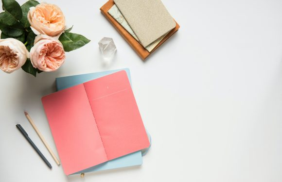 Flat lay of cards, pens, and small vase of peach colored flowers
