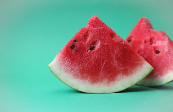 Two quarter slices of watermelon