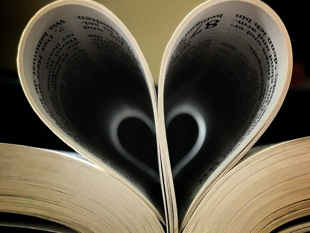 Bible with Pages shaped in a heart