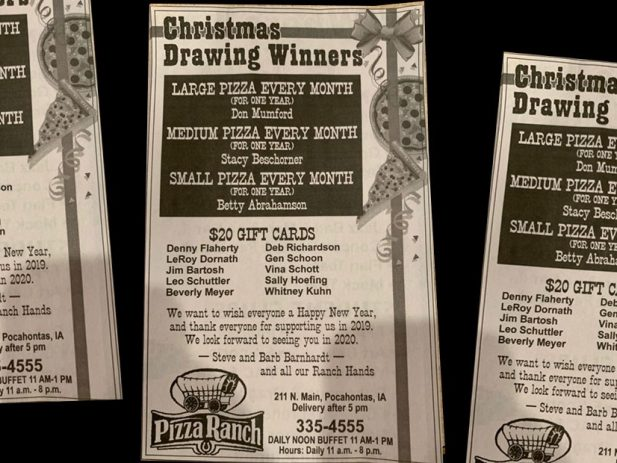 Newspaper Announcement of Pizza and Gift Card Winners in Pocahontas