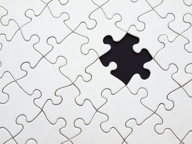 White puzzle missing one piece