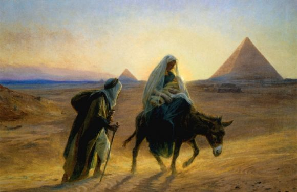 Joseph, Mary and baby Jesus flee to Egypt