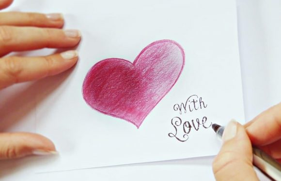 Hand written card with love