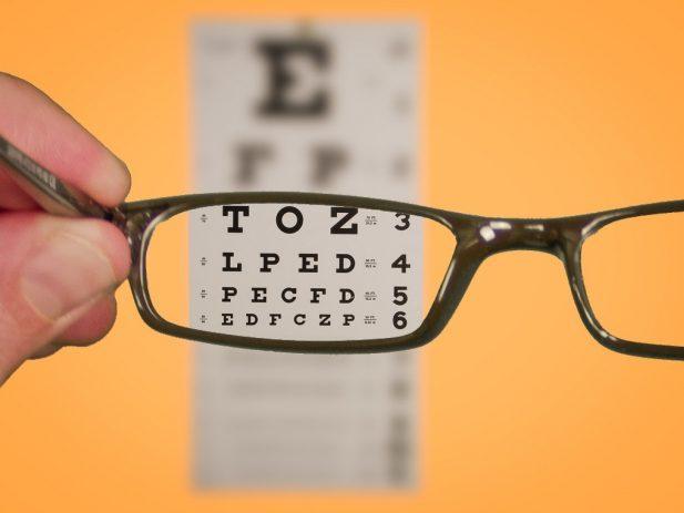 Eye Chart viewed though glasses
