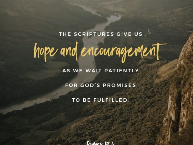 Romans 15:4 with a mountain valley landscape in the background