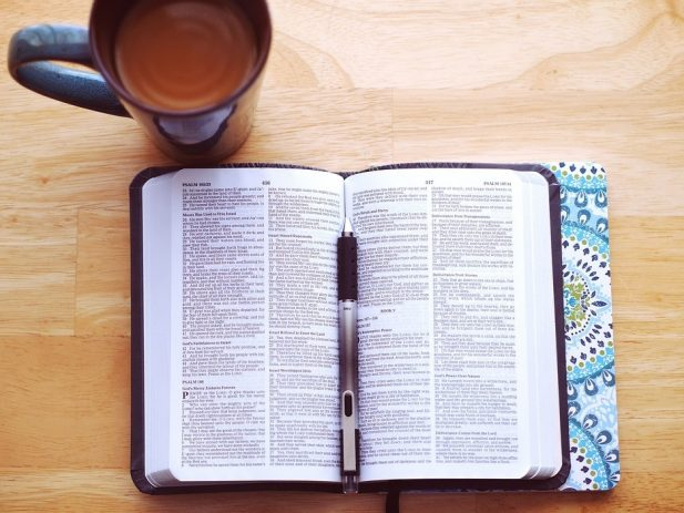 Open Bible, Journal, Cup of Coffee