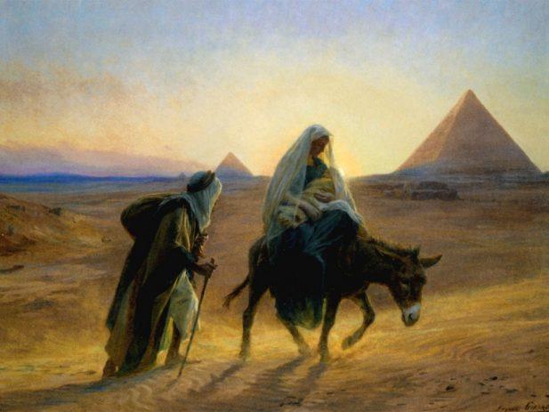 Joseph, Mary and baby Jesus flee to Egypt