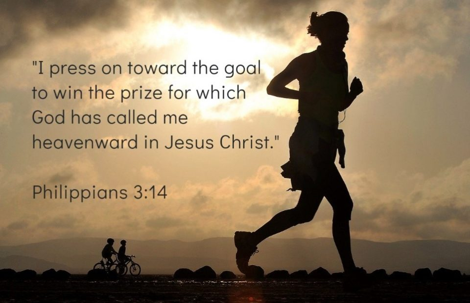 Runner Silhouette with Philippians 3:14